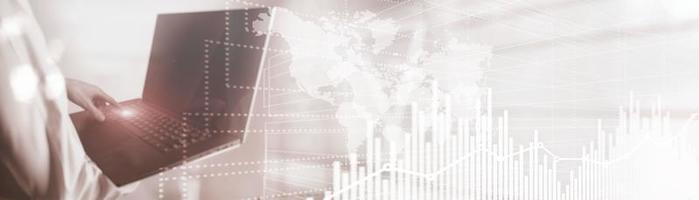 Future Financial Technology Interface. Graph Stock Market chart. World map on virtual screen. Website Banner. photo