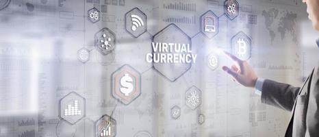 Currency symbols on a virtual screen. Virtual Currency Exchange Investment concept 2021. photo