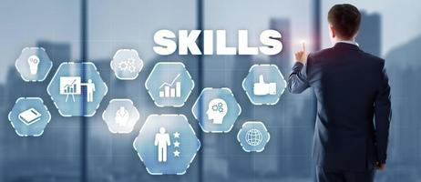 Skills Learning Personal development Competency Business concept 2021. photo