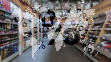 ventas globales cyber mondey. icono de porcentaje en el mapa mundial foto
