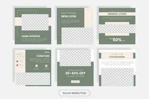 Minimal home interior design social media post banner template set vector