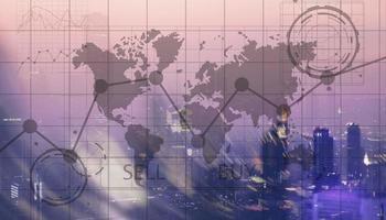 Vender y comprar concepto de comerciantes de negocios financieros foto