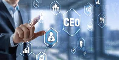 Chief Executive Officer. CEO business concept on virtual screen photo