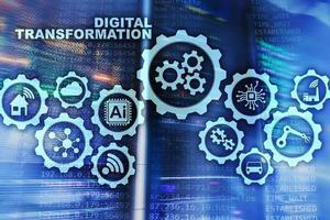 concepto de transformación digital de digitalización de procesos de negocio de tecnología. fondo del centro de datos foto