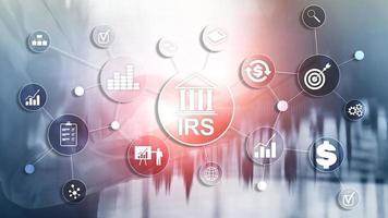 Servicio de ingresos internos. Ministerio de Hacienda del IRS. fondo de negocios abstracto foto