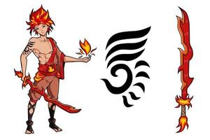 Fire boy with fire sword character game design vector