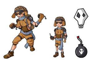 Bomber boy character game design vector