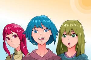 feliz ilustración de personaje de tres mejores amigos vector