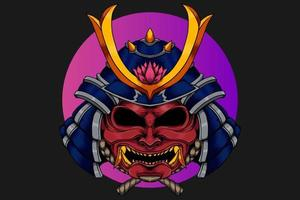 Samurai head with lotus flower illustration vector