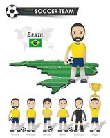 equipo de la copa nacional de fútbol de brasil. jugador de fútbol con camiseta deportiva de pie en el mapa del país del campo de perspectiva y el mapa mundial. conjunto de posiciones de futbolista. diseño plano de personaje de dibujos animados. vector. vector
