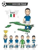 equipo de la copa de fútbol de italia. jugador de fútbol con camiseta deportiva de pie en el mapa del país del campo de perspectiva y el mapa mundial. conjunto de posiciones de futbolista. diseño plano de personaje de dibujos animados vector