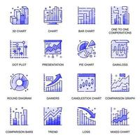 Diagram and Chart web flat line icons set vector