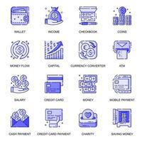 Money web flat line icons set vector