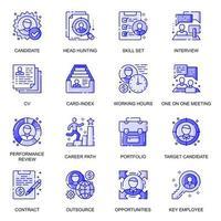 Head Hunting web flat line icons set vector
