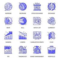 Stock Quotes web flat line icons set vector