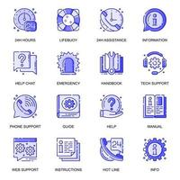 Help And Support web flat line icons set vector