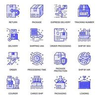 Delivery web flat line icons set vector