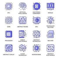 Electronics web flat line icons set vector