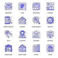 Real Estate web flat line icons set vector