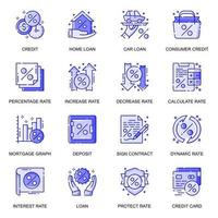 Credit and Loan web flat line icons set vector