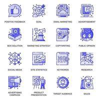 Marketing web flat line icons set vector