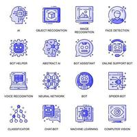 Artificial Intelligence web flat line icons set vector