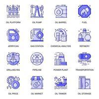 Conjunto de iconos de línea plana web de industria petrolera vector
