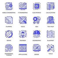 Engineering web flat line icons set vector