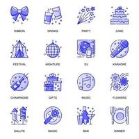 Party Event web flat line icons set vector