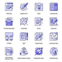 Copyrighting web flat line icons set vector