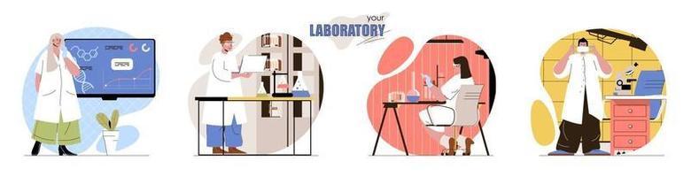 Your Laboratory concept scenes set vector