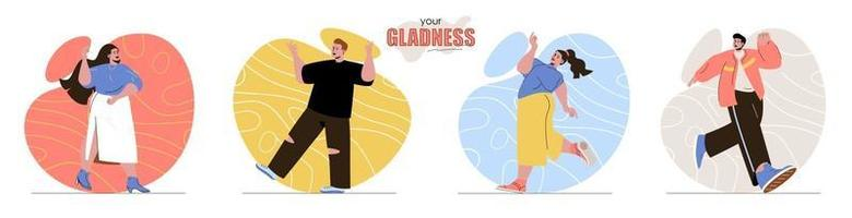 Your Gladness concept scenes set vector