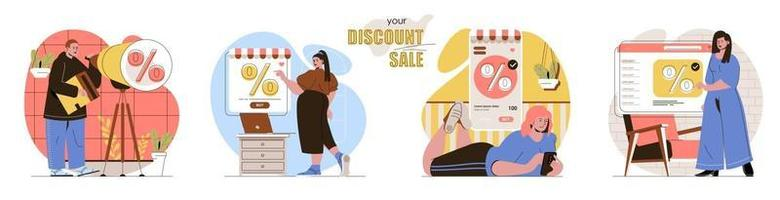 Your Discount Sale concept scenes set vector
