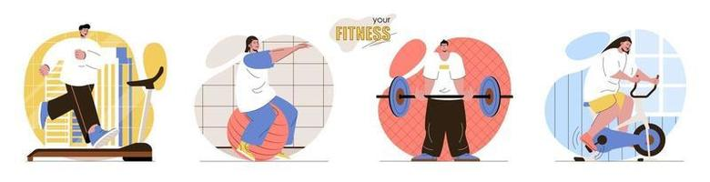 Your Fitness concept scenes set vector