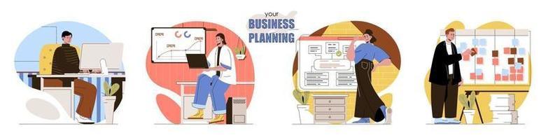 Your Business Planning concept scenes set vector