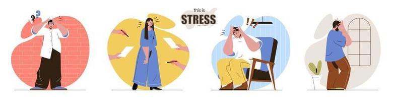 This is Stress concept scenes set vector