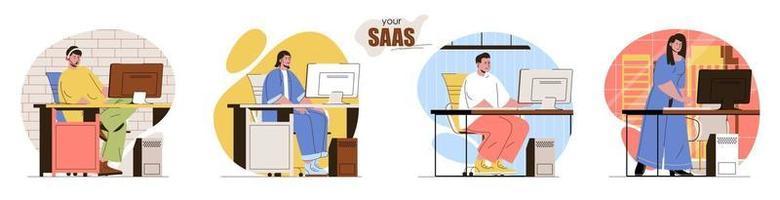 Your SaaS concept scenes set vector