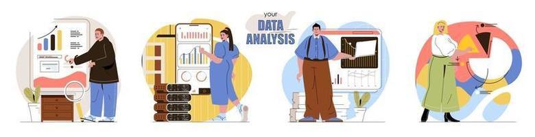 el conjunto de escenas del concepto de análisis de datos vector