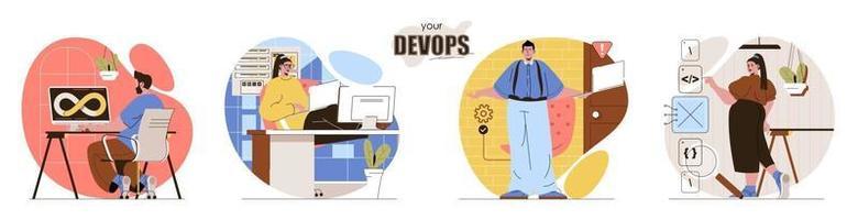 Your DevOps concept scenes set vector