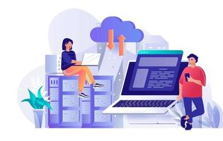 Hosting provider concept in flat design vector