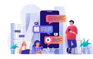 Messaging service concept in flat design vector