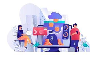 Virtual finance concept in flat design vector