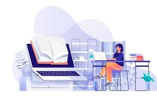 Online reading concept in flat design vector