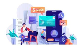 Mobile banking concept in flat design vector