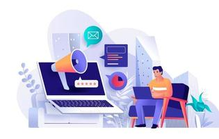 Outbound marketing concept in flat design vector