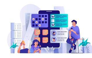 Mobile organizer concept in flat design vector