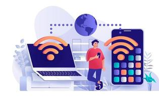 Wireless technology concept in flat design vector