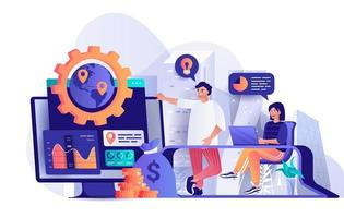 Global business strategy concept in flat design vector