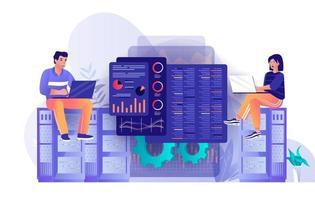 Data center technology concept in flat design vector