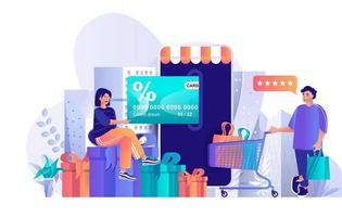 Shop loyalty program concept in flat design vector